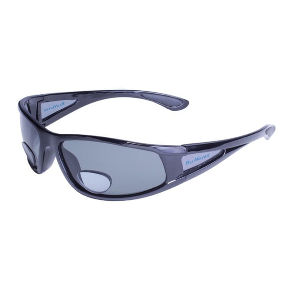 BluWater Shiny Blk Frame with Grey Polarized Lens