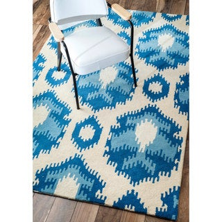 nuLOOM Handmade Ikat Abstract Wool/ Viscose Blue Rug (7'6 x 9'6)