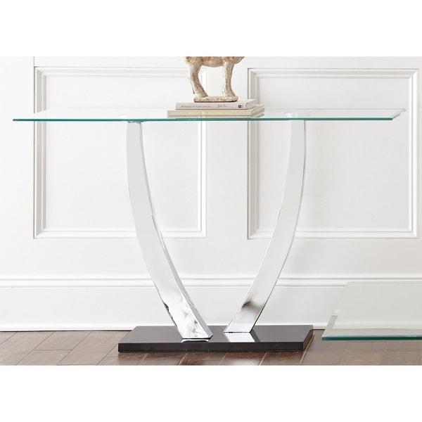 Sofa Table Chrome Glass Coffee Modern Contemporary Console