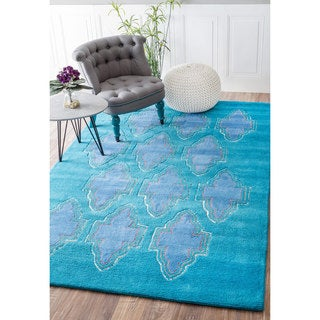 nuLOOM Contemporary Handmade Abstract Fancy Turquoise Rug (5' x 8')