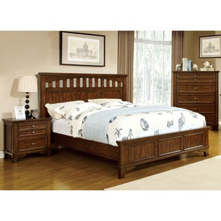 Furniture of America Farmstead Rustic 2-piece Bed and Nightstand Set