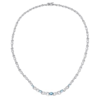 Dolce Giavonna Sterling Silver or Gold Over Silver Gemstone And Diamond Accent XO Necklace