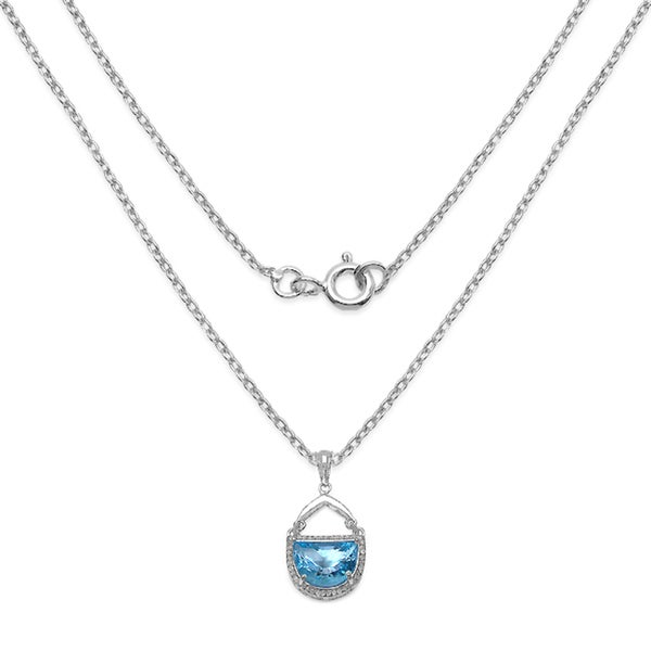 Malaika Sterling Silver Half-moon Swiss Blue Topaz Necklace