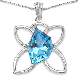 Malaika Malaika Sterling Silver 21ct Swiss Blue Topaz Necklace