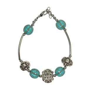 Handmade Tibetan Silver Imitation Turquoise Bracelet (China)