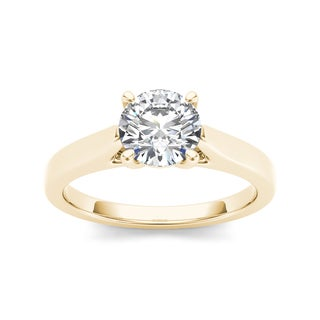 De couer 14k Yellow Gold 1ct TDW Diamond Exquisite Engagement Ring (H-I, I2)
