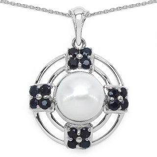 Malaika Sterling Silver 1 5/8ct Blue Sapphire and Pearl Necklace