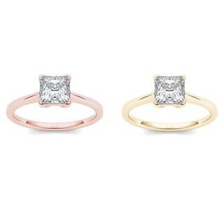 De Couer 14k Gold 1ct TDW Diamond Princess-cut Classic Engagement Ring (H-I, I2)