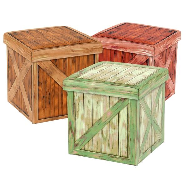 Vintique Folding Storage Ottoman - Wooden Crate Design (Set of 3)