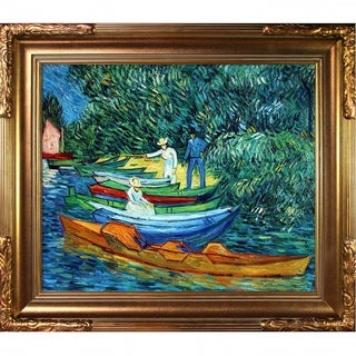 Vincent Van Gogh 'Rowing Boats on the Banks of the Oise' Hand Painted Framed Canvas Art