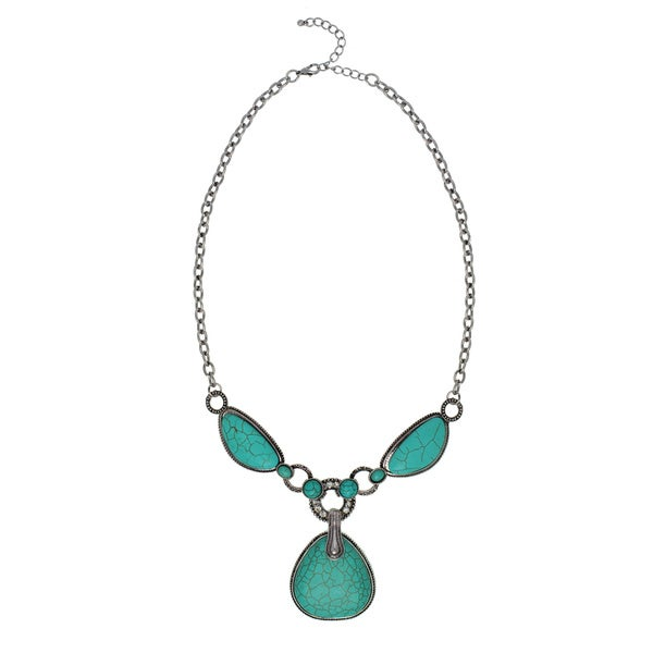 Alexa Starr Silvertone Turquoise and Rhinestone Fancy Necklace