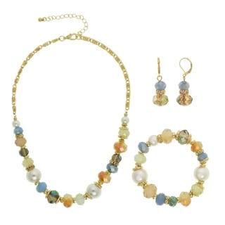 Alexa Starr Goldtone Multi-cut Glass Pearl Necklace Clip-on or Pierced Jewelry Set