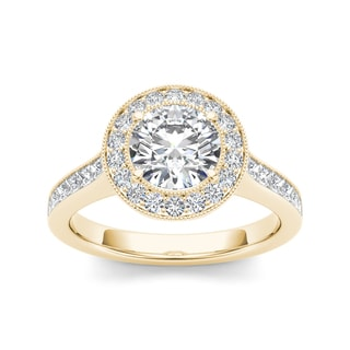De Couer 14k Yellow Gold 2ct TDW Diamond Halo Engagement Ring (H-I, I2)