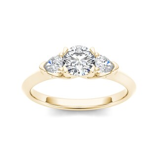 De Couer 14k Yellow Gold 1ct TDW Diamond Three-Stone Anniversary Ring (H-I, I2)