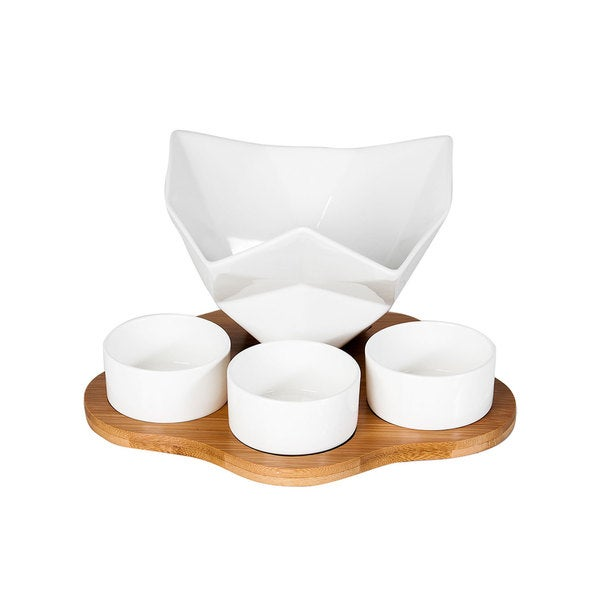 5-piece Porcelain Dipping Bowl Set with Bamboo Rack and Utensils