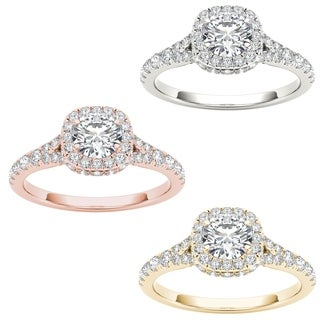 De couer 14k Gold 1ct TDW Diamond Halo Engagement Ring (H-I, I2)