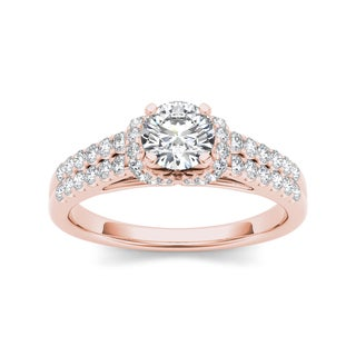 De Couer 14k Rose Gold 7/8ct TDW Diamond Exquisite Engagement Ring (H-I, I2)