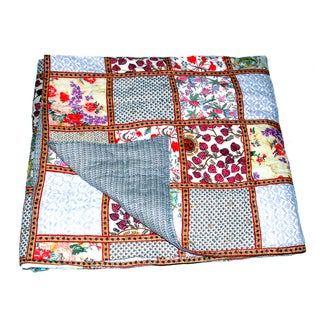 Handmade Organic Cotton Block Print Patchwork Quilt (India)