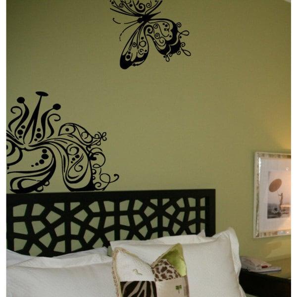 Butterflies Flower Swirls Floral Pattern Vinyl Sticker Wall Art