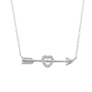 Eternally Haute Sterling Silver Pave Cupid Heart and Arrow Necklace