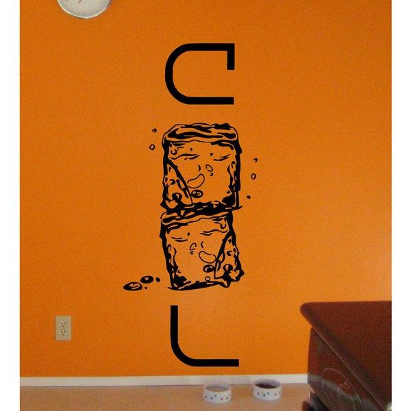 Cold Ice Cubes Kitchenl Vinyl Sticker Wall Art
