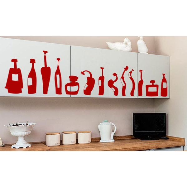 Melted Bottles Kitchen Vinyl Sticker Wall Art