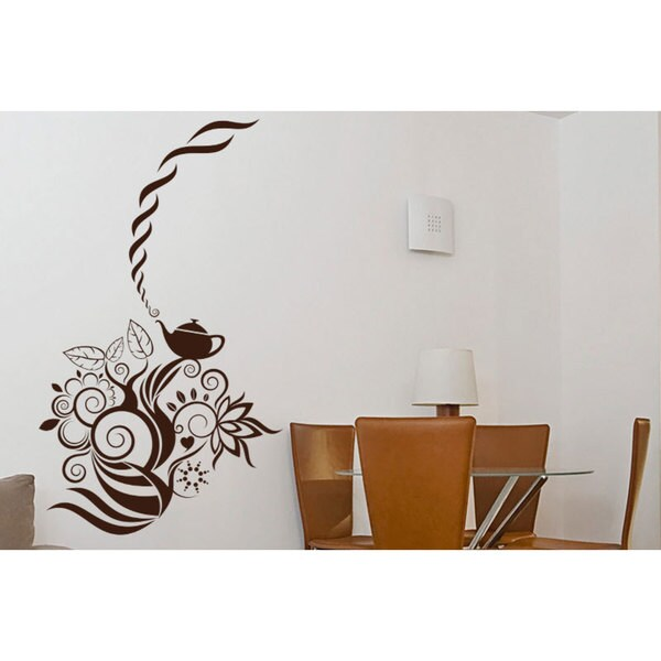 Tea Party Tea Pot Kitchen Vinyl Sticker Wall Art