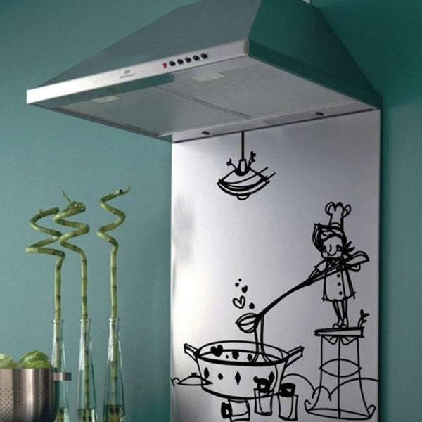 Chef Cooking Kitchen Vinyl Sticker Wall Art