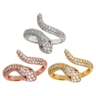 Eternally Haute Sterling Silver Pave Cubic Zirconia Snake Ring