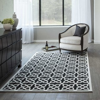 """Luxe Black & White Link Machine-Made Rug (9'2""""x12'6"""")"""
