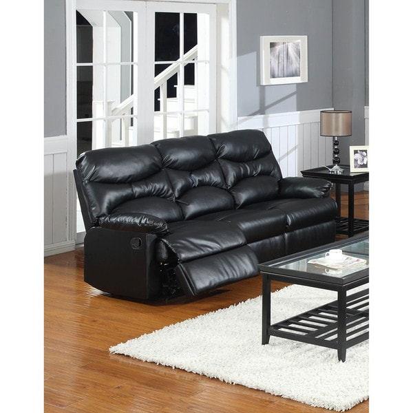 LYKE Home Gena Black Bonded Sofa