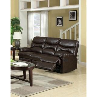 LYKE Home Gena Brown Bonded Leather Sofa