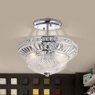 Graciela 3-light Chrome and Crystal Glass Bowl Semi-Flush Mount Chandelier