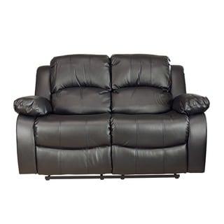 LYKE Home Kayla Black Bonded Leather Loveseat