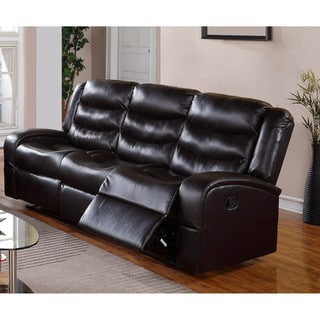 LYKE Home Edy Black Bonded Leather/PU Sofa