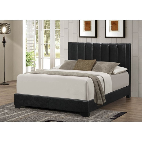 LYKE Home Moda Black PU Queen Bed