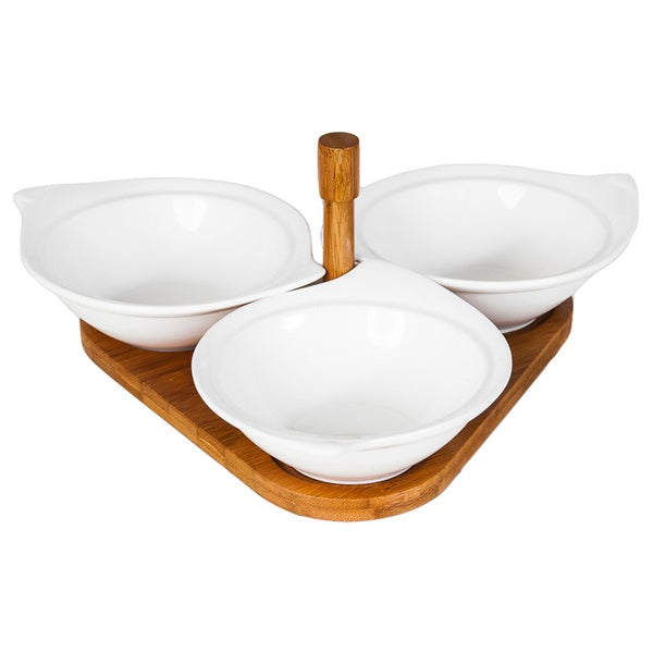 4-piece Porcelain Serving Bowl Set with Bamboo Tray
