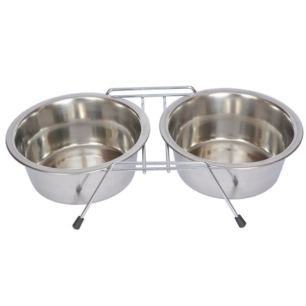 Iconic Pet Stainless Steel Double Diner with Wire Stand 15485540