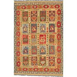 Ecarpetgallery Hereke Kilim Light Gold Red Wool Panel Kilim Rectangular Rug (6'5 x 9'7)