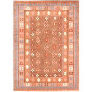 Ecarpetgallery Karma Brown Copper Wool Geometric Rectangular Rug (8'1 x 11'1)