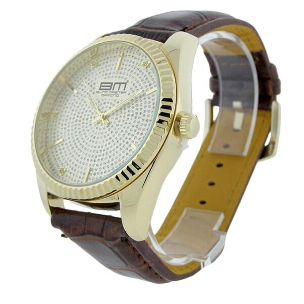 Diamond Men's Brass Case Leather Strap Watch
