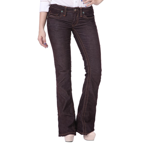Stitch's Womens Boot Cut Denim Trousers Jeans Pants Worn Style