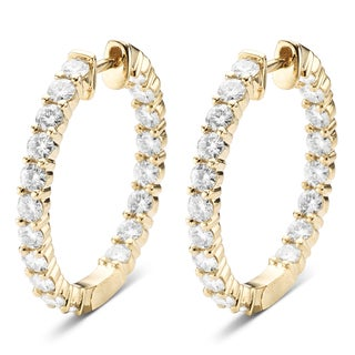 Charles & Colvard 14k Yellow Gold 2.28 TGW Round Forever Brilliant Moissanite Hoop Earrings