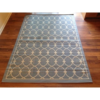 Light Blue Beige Pool Patio Deck Area Rug Area Rug (6'5 X 9'3)