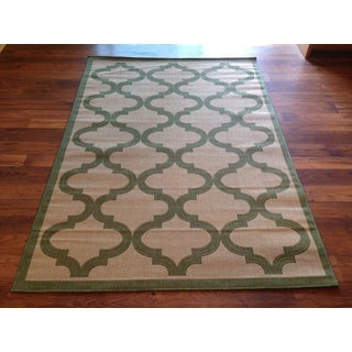 Green Beige Pool Patio Deck Area Rug Area Rug (6'6 X 9'3)