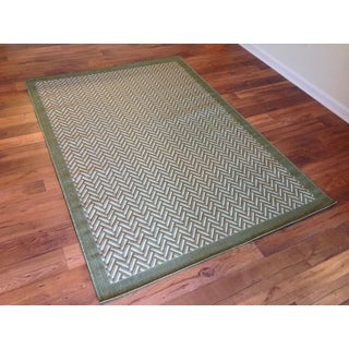 Beige Green Herringbone Pool Patio Deck Area Rug Area Rug (6'6 X 9'2)