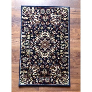 Blue Traditional Medallion Accent Area Rug Area Rug (2' X 3')