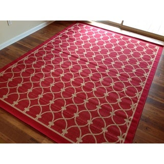 Floral Beige Red Pool Patio Lanai Deck Area Rug Area Rug (7'10 X 10'4)