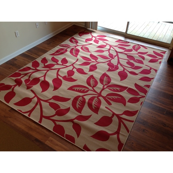 Beige Red Floral Pool Patio Lanai Deck Area Rug Area Rug