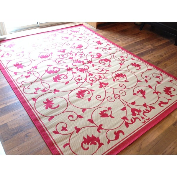 Outdoor Pool Area Rugs: Floral Red Beige Pool Patio Lanai Deck Area Rug Area Rug